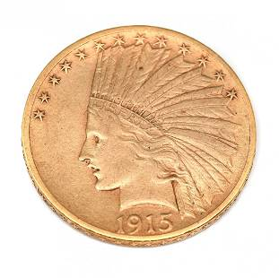 INDIAN 1915 $10 GOLD COIN