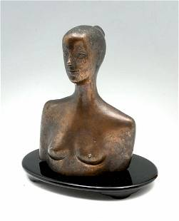 ILLEGIBLY SIGNED RUSSIAN BRONZE FEMALE NUDE BUST