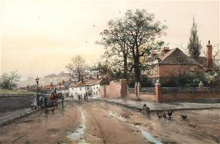 F.F. ENGLISH STREET SCENE WITH FIGURES & HORSE CAR