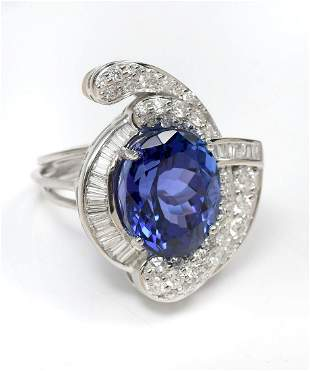 CUSTOM PLATINUM 14.32 CT TANZANITE & DIAMOND RING