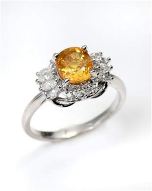 PLATINUM YELLOW SAPPHIRE & DIAMOND RING
