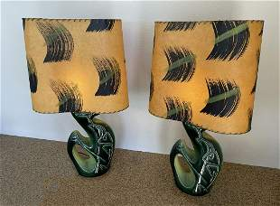 PAIR OF MID CENTURY MODERN POTTERY LAMPS