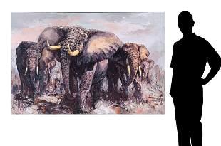 LARGE MARK KING HERD OF ELEPHANTS