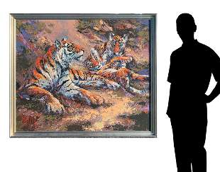 LARGE MARK KING PAINTNG TIGER FAMILY