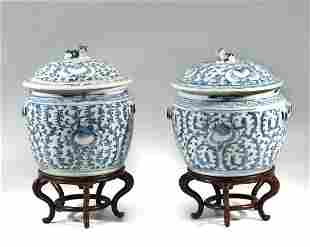 PAIR OF 19TH C. CHINESE BLUE AND WHITE GINGER JARS