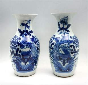PAIR CHINESE QING DYNASTY BLUE AND WHITE PHOENIX V