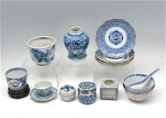 15 PC. CHINESE BLUE & WHITE PORCELAIN COLLECTION