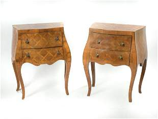 PAIR OF PARQUETRY BOMBE 2 DRAWER STANDS