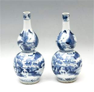 PAIR OF CHINESE SCENIC DOUBLE GOURD VASES