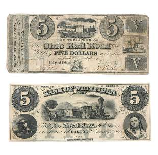 19TH CENTURY UNITED STATES FIVE DOLLAR NOTES