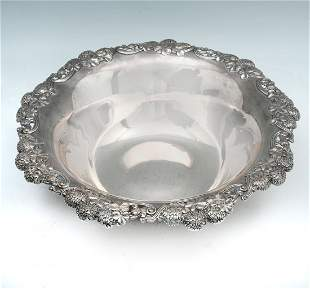 LARGE TIFFANY REPOUSSE STERLING BOWL
