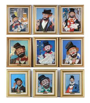 SUITE OF 9 ENHANCED RED SKELTON PRINTS ON CANVAS