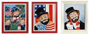 THREE RED SKELTON FRAMED ART ON PORCELAIN
