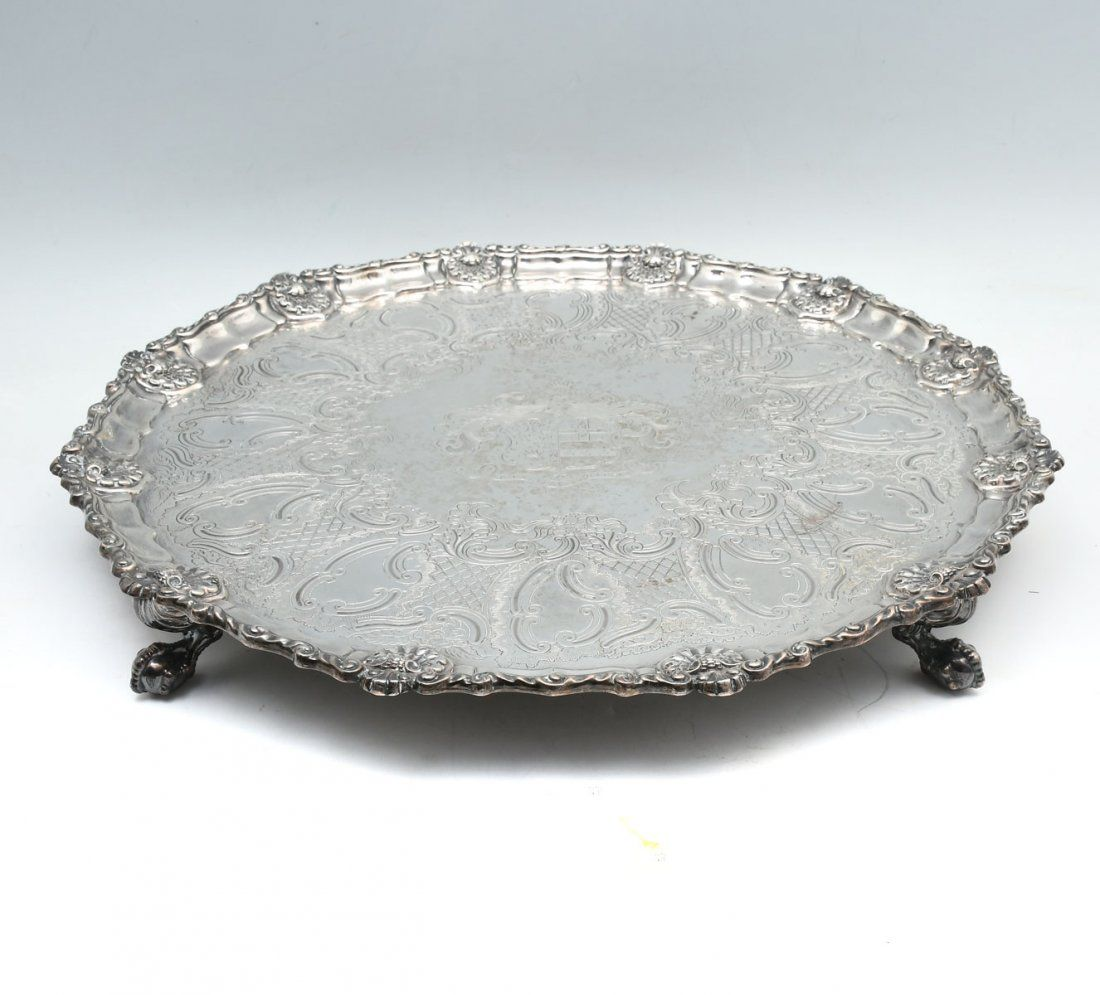 GEORGIAN ENGLISH STERLING SILVER FOOTED TRAY