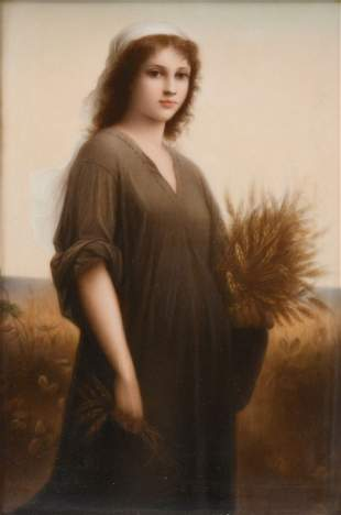 PAINTED PORCELAIN PLAQUE OF RUTH