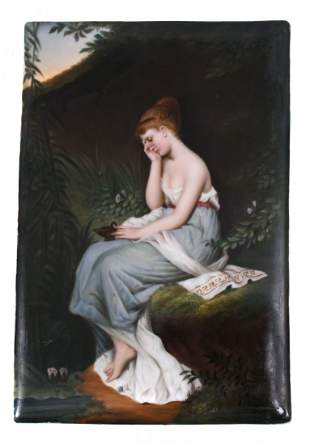 PAINTED PORCELAIN PLAQUE OF A YOUNG GIRL LAMENTING