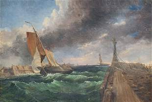 ILLEGIBLY SIGNED MARITIME PAINTING OF THE DUSSELDORF