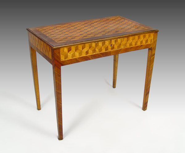 3:  19TH C PARQUETRY INLAY WRITING TABLE