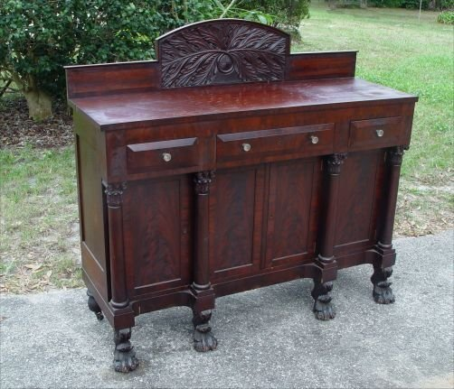 9: AMERICAN EMPIRE PERIOD LION PAW SIDEBOARD