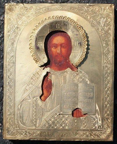 14: RUSSIAN ICON CHRIST PANKRATOR 1882