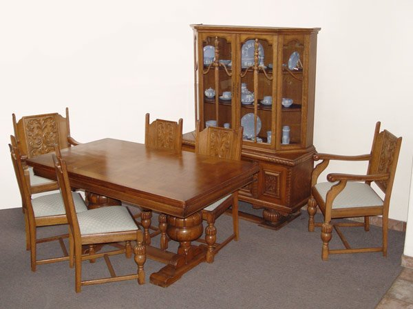 16: 8 pc BELGIAN OAK DINING TABLE CHAIRS CHINA CABINET