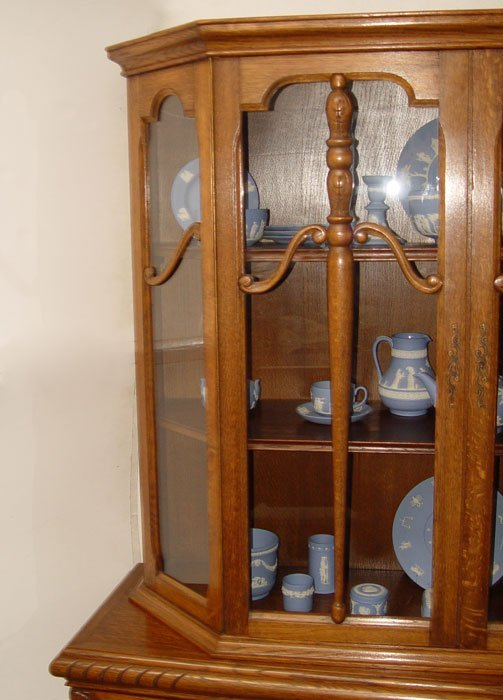 16 8 pc belgian oak dining table chairs china cabinet