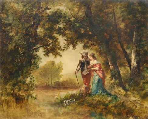 19: PAUL VERNON LOVERS WALK PAINTING 19TH C.