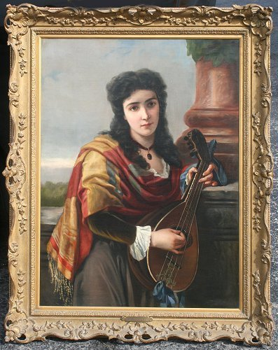 21: 19TH C. OIL/CANVAS OF YOUNG BEAUTY WITH MANDOLIN