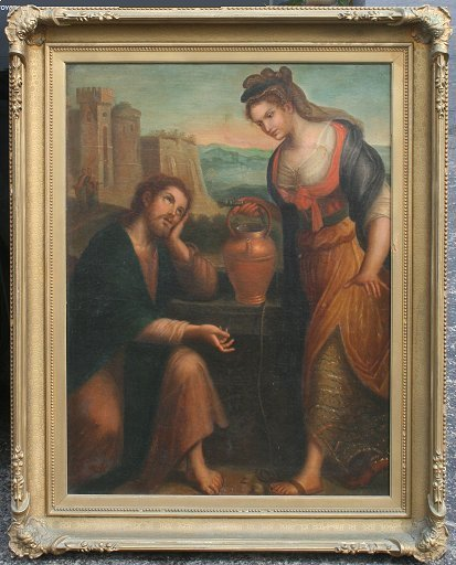22: 19TH C. OIL/CANVAS OF CHRIST AND WOMAN OF SAMARIA