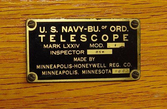 258: 1944 US NAVY MARK 74 TELESCOPE IN WOOD CASE - 6