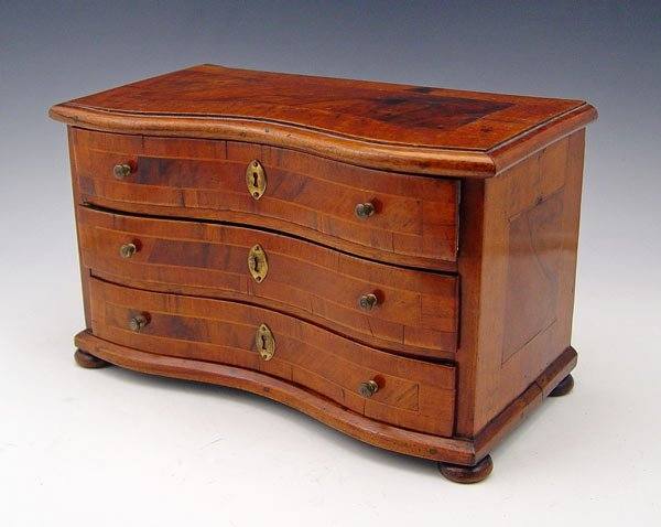 2: MINIATURE BANDED MAHOGANY CHEST