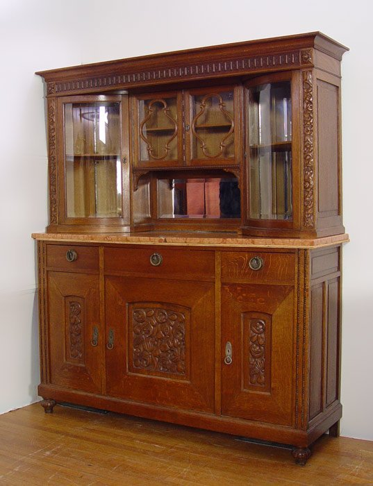 13: VICTORIAN MARBLE TOP OAK CHINA CABINET SIDEBOARD
