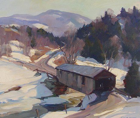 151: EMILE GRUPPE COVERED BRIDGE IN VERMONT PAINTING