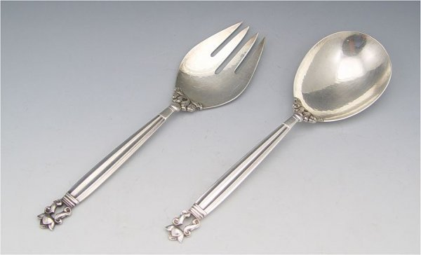 17: GEORG JENSEN DANISH STERLING ACORN SERVING SET
