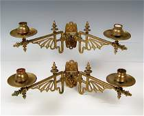 119 PAIR AESTHETIC MOVEMENT BRASS WALL SCONCES