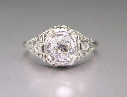 9: 18K DIAMOND FILIGREE RING  1.12 Ct    1.8 dwt  NR
