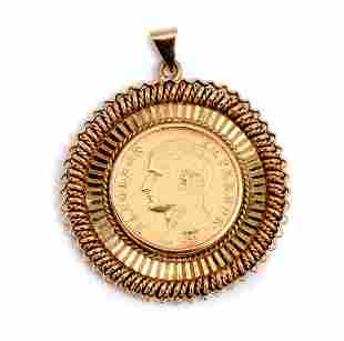 FRENCH 1806 NAPOLEON GOLD 20 FRANC COIN IN 14K BEZ