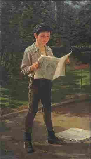 FREDERICH DIELMAN NEWSBOY READING THE PAPER