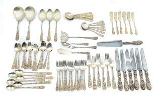 75 PC. STIEFF REPOUSSE STERLING FLATWARE