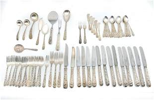 58 PC. KIRK AND SONS STERLING REPOUSSE FLATWARE