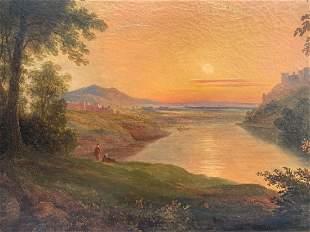 FINE 19TH CENTURY PAINTING SUNSET ON THE RHINE