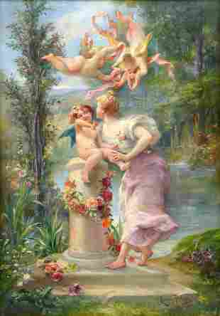 EXCEPTIONAL PAINTING OF PUTTI AND YOUNG BEAUTY BYU