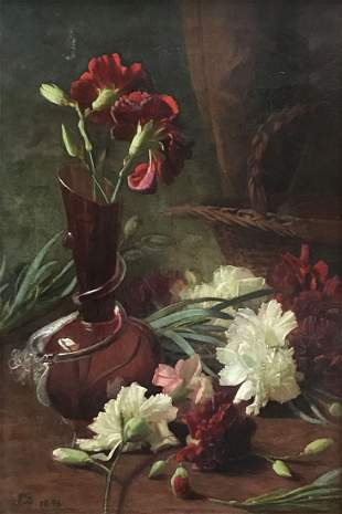 ILLEGIBLY SIGNED 19TH C FLORAL PAINTING