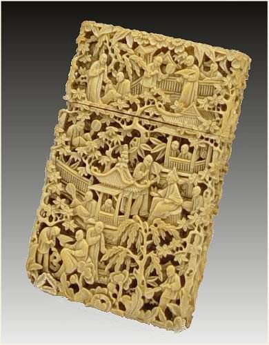 13: CHINESE INTRICATE CARVED IVORY CARD CASE