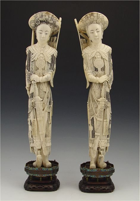 103: PAIR CARVED IVORY FEMALE WARRIORS