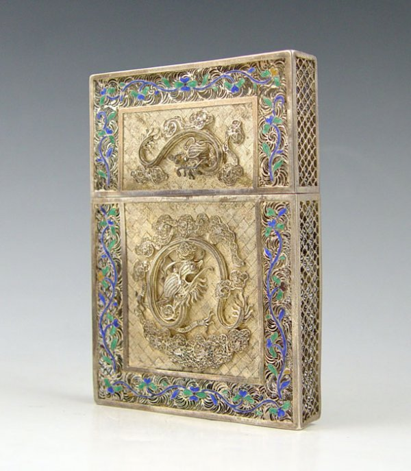 12A: RETICULATED CHINESE ENAMELED SILVER CARD CASE