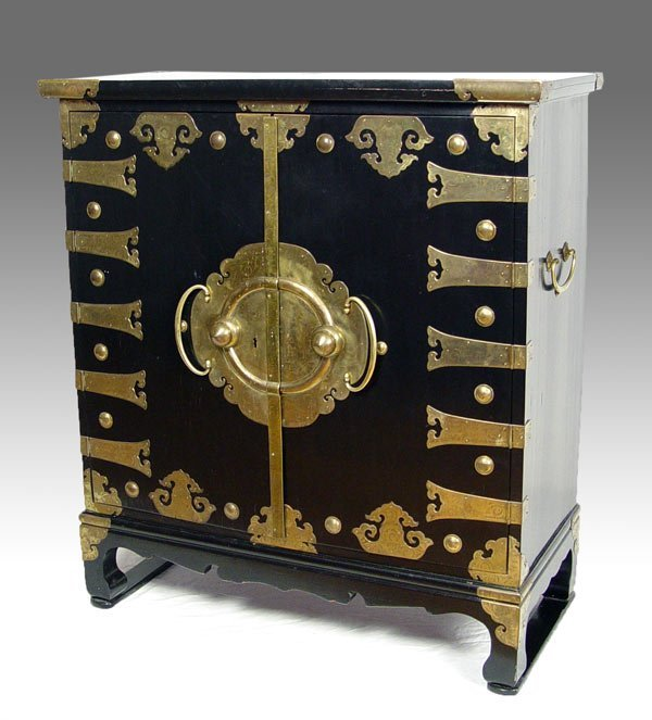4: KOREAN BLACK LACQUER BRASS MOUNTED CHEST