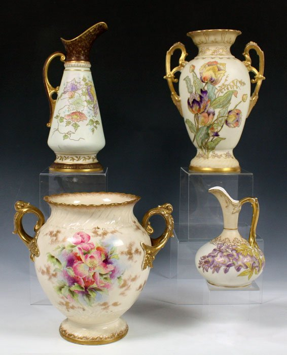 386: 4 PIECE HAND PAINTED ROYAL WORCESTER TYPE PORCELAI