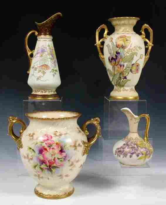 4 PIECE HAND PAINTED ROYAL WORCESTER TYPE PORCELAI