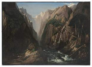 FINE 19TH CENTURY CANYON RIVER PAINTING